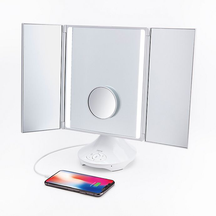 Alternate image 1 for iHome Vanity Speaker Mirror with Bluetooth in White