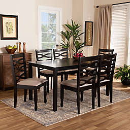 Baxton Studio Fabiola 7-Piece Dining Set in Dark Brown/Sand