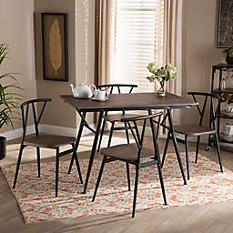 Baxton Studio® Melodie 5-Piece Dining Set in Walnut/Black
