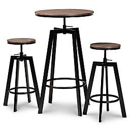Baxton Studio Tierney 3-Piece Bar Pub Set in Walnut/Black