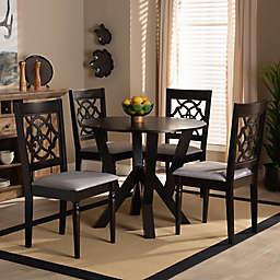 Baxton Studio Isidore 5-Piece Dining Set in Dark Brown/Grey