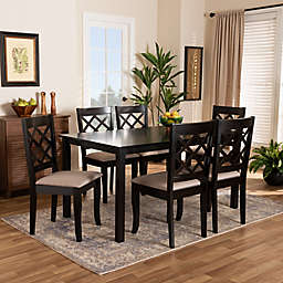 Baxton Studio Richmond 7-Piece Dining Set in Dark Brown/Sand