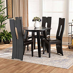 Baxton Studio Marsh 5-Piece Faux Leather Dining Set in Dark Brown