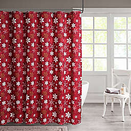 13-Piece Snowflakes Shower Curtain and Hook Set in Red