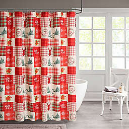 Holiday Patchwork 13-Piece Shower Curtain and Hook Set in Red