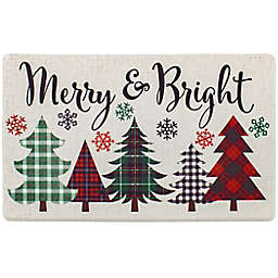 "Merry Plaid Bright Trees Cloudstep 18"" x 30"" Kitchen Mat in Ivory"