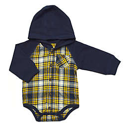 Kapital K™ Size 6-9M Moonlight Plaid Hooded Long Sleeve Bodysuit in Yellow/Navy