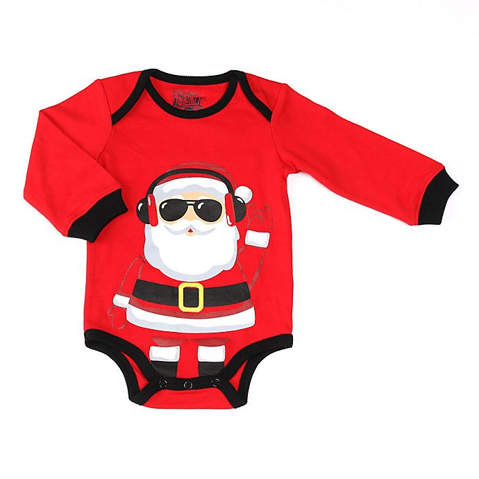 Alternate image 1 for Kapital K Size 0-3M Santa Long Sleeve Bodysuit in Red