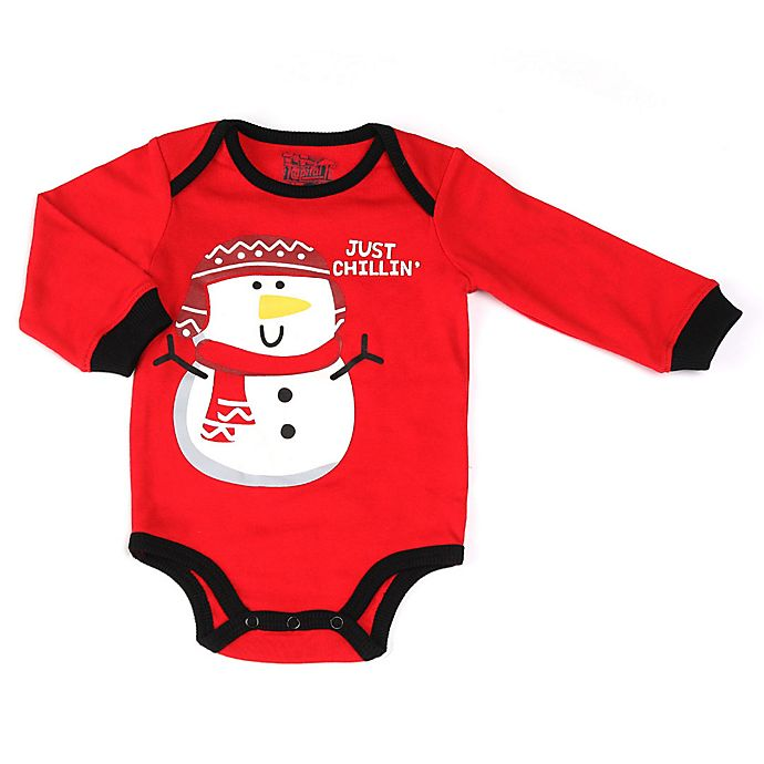Alternate image 1 for Kapital K Snowman Long Sleeve Bodysuit in Red