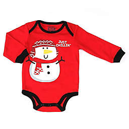 Kapital K Size 0-3M Snowman Long Sleeve Bodysuit in Red
