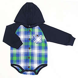 Kapital K™ Size 6-9M Plaid Flannel Hooded Long Sleeve Bodysuit in Forest Green