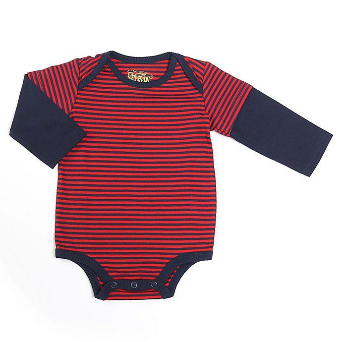 Alternate image 1 for Kapital K™ Size 6-9M 2-in-1 Striped Long Sleeve Bodysuit in Red/Navy