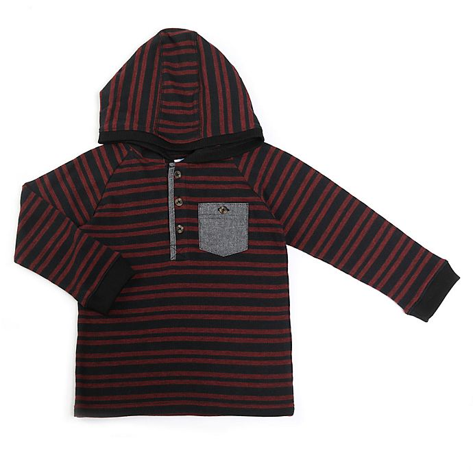 Alternate image 1 for Kapital K Merlot Striped Longsleeve Hoodie
