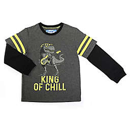 Kapital K Size 24M King of Chill Dino Longsleeve Tee in Grey
