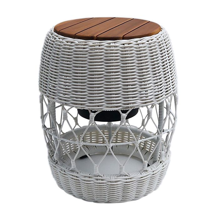 Alternate image 1 for Bee & Willow™ Home Elmridge Metal and Wicker Patio Cooler Accent Table in Coconut Milk