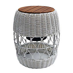 Bee & Willow™ Home Elmridge Metal and Wicker Patio Cooler Accent Table in Coconut Milk