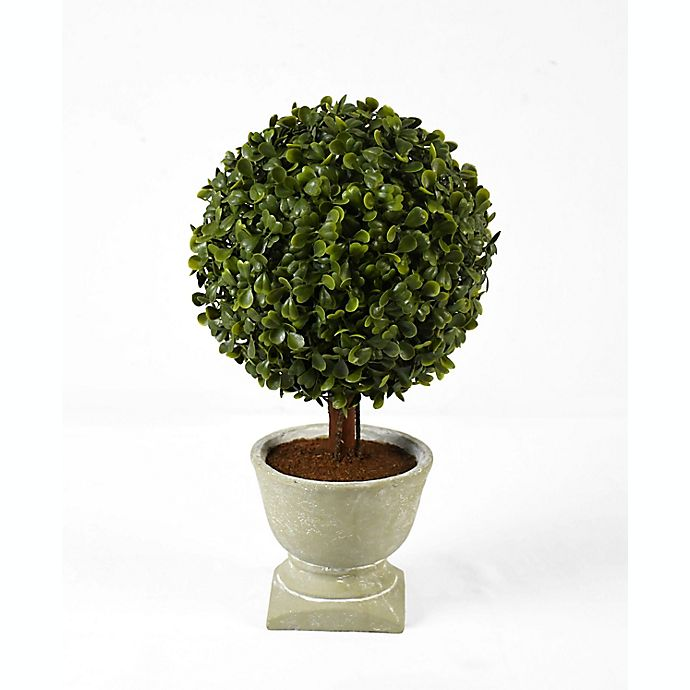 Alternate image 1 for Faux Boxwood Topiary with Natural Planter in Green