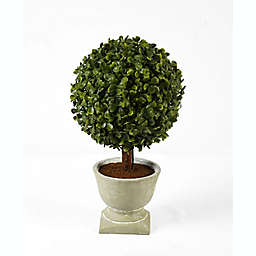 Faux Boxwood Topiary with Natural Planter in Green