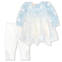 Biscotti Lace 2-Piece Top and Pant Set in Light Blue