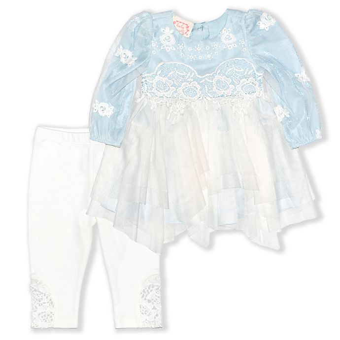 Alternate image 1 for Biscotti Lace 2-Piece Top and Pant Set in Light Blue