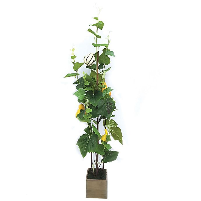 Alternate image 1 for 51-Inch Artificial Gourd Tree in Green with Wood Pot