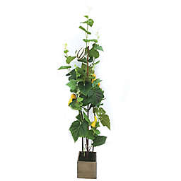 51-Inch Artificial Gourd Tree in Green with Wood Pot