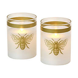Moving Flame Glass LED Candles in Honey Bee (Set of 2)