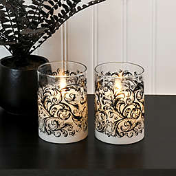 Moving Flame Glass LED Pillar Candles in Swirl Black (Set of 2)