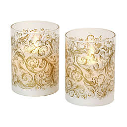 Moving Flame Glass LED Pillar Candles (Set of 2)