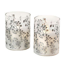 Moving Flame Vine Glass LED Candles (Set of 2)
