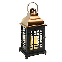 Decorative Metal Lantern with Moving Flame LED Candle in Black/Rose Gold