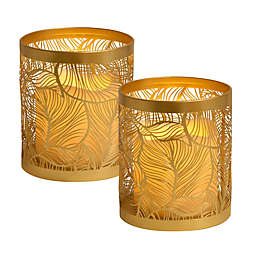 Leaf Candle Holders with LED Votive Candles in Gold (Set of 2)