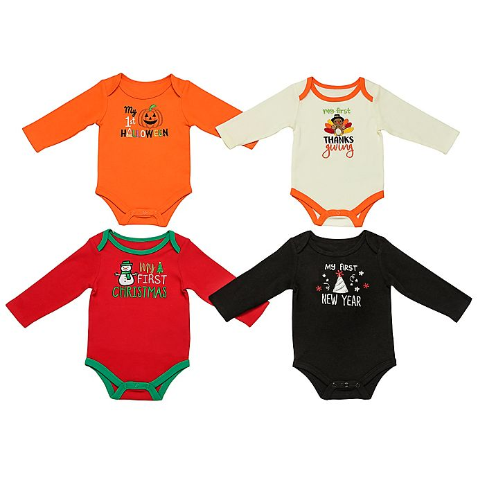 Alternate image 1 for Baby Starters® 4-Pack Fall Holiday See Me Grow Bodysuits