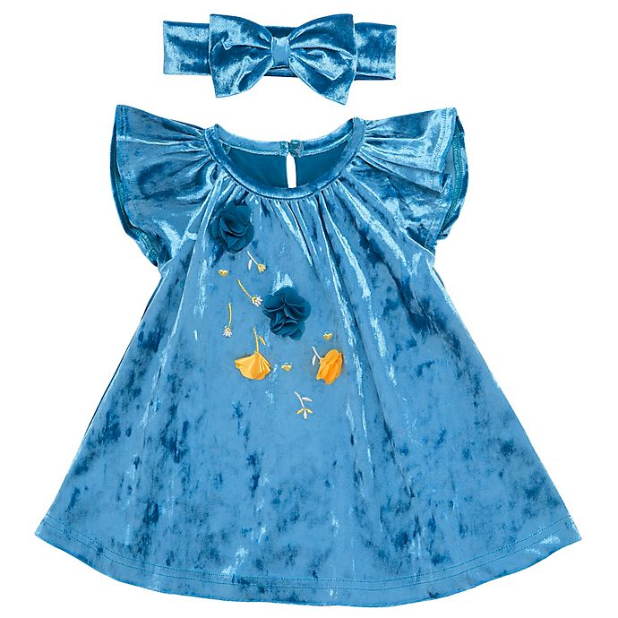 Alternate image 1 for Baby Starters® 2-Piece Embroidered Dress and Headband Set in Teal