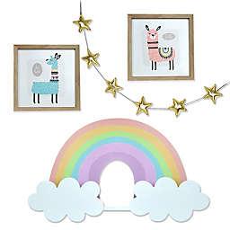 Prinz 4-Piece LLama & Rainbow Kids Curated Wall Decor Set