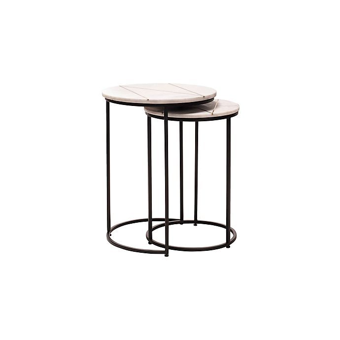 Alternate image 1 for O&O by Olivia & Oliver™ 2-Piece Nesting Table Set in Marble/Gold