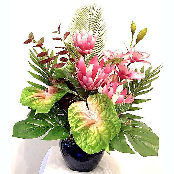 Alternate image 1 for W Home 24-Inch Pink Floral Arrangement in Ceramic Vase