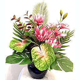 W Home 24-Inch Pink Floral Arrangement in Ceramic Vase