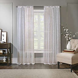 Spring Leaf Rod Pocket Light Filtering Sheer Window Curtain Panel in White