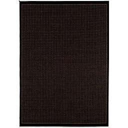 Couristan® Recife Saddle Stitch 7'6 x 10'9 Indoor/Outdoor Area Rug in Black/Cocoa