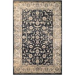 Couristan® Zahara Floral Emblem Rug in Oatmeal/Black