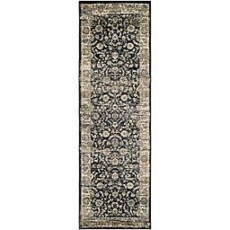 Couristan® Zahara Floral Emblem 2'7 x 7'10 Runner in Black/Oatmeal