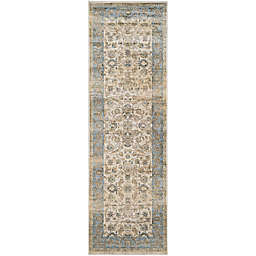 Couristan® Zahara Embellished Blossom 2'7 x 7'10 Runner in Oatmeal/Blue