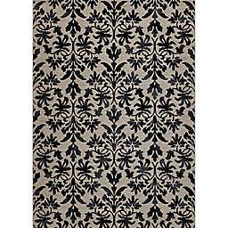 Couristan® Everest Retro Damask Rug in Grey/Black