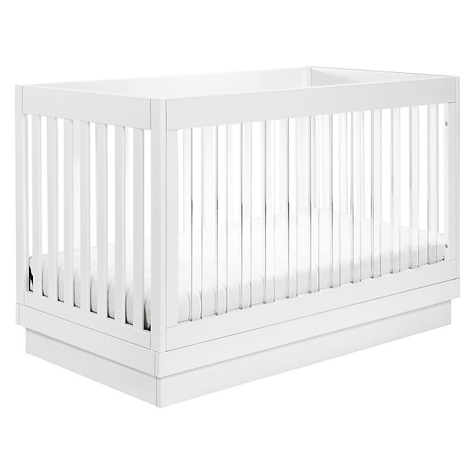 Alternate image 1 for Babyletto Harlow 3-in-1 Convertible Crib with Toddler Bed Conversion Kit in White and Acrylic