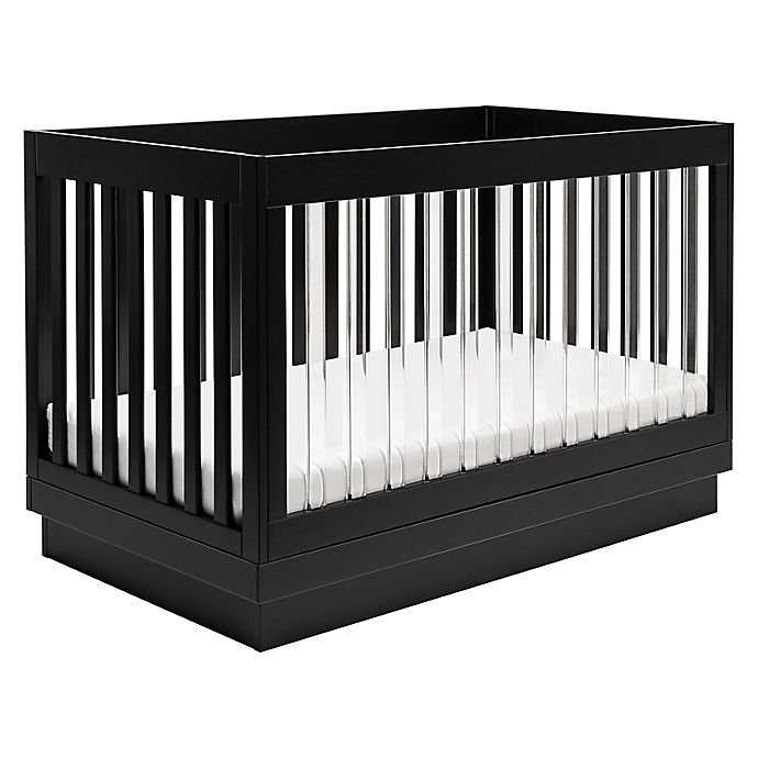 Alternate image 1 for Babyletto Harlow 3-in-1 Convertible Crib with Toddler Bed Conversion Kit in Black and Acrylic
