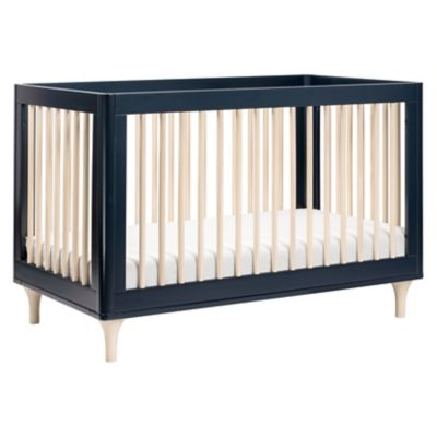 Babyletto Lolly 3-in-1 Convertible Crib in Navy/Washed Natural