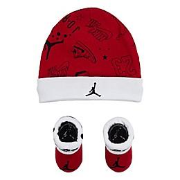 Jordan Newborn 2-Piece Allstar Scribble Hat and Booties Set in Red