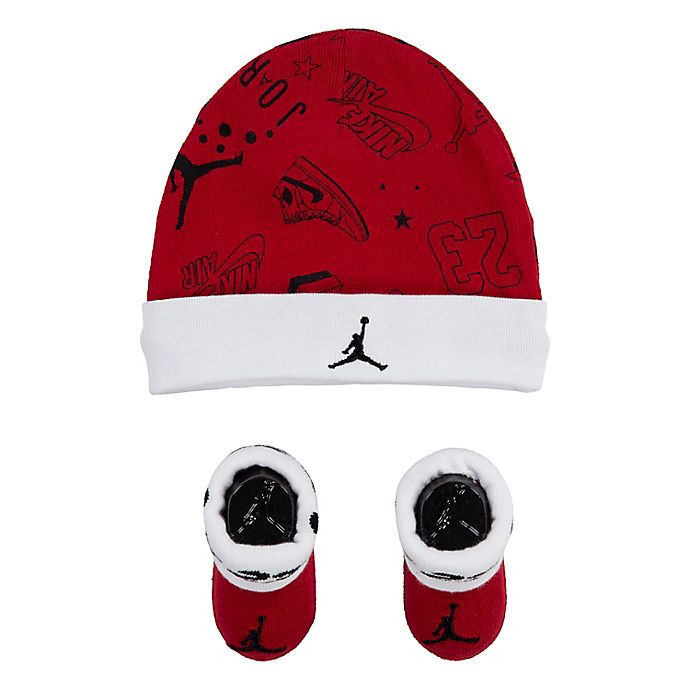 Alternate image 1 for Jordan Newborn 2-Piece Allstar Scribble Hat and Booties Set in Red
