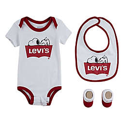 Levi's® Newborn 3-Piece Snoopy Bodysuit, Bib, and Bootie Set in White